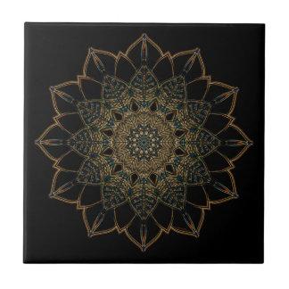 Ceramic Photo Tile Golden Black Design