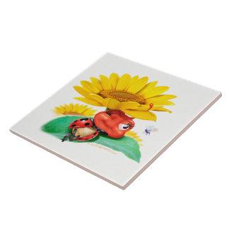 Ceramic tile display Sleepy Ladybug
