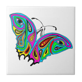 Ceramic Tile with Butterfly Abstract Design