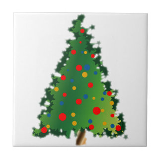 Ceramic Tile with Christmas Tree Decoration