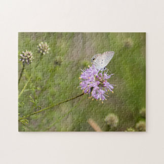 Ceraunus Blue Butterfly Nectars on a Purple Flower Jigsaw Puzzle
