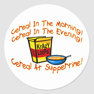 Cereal All The Time Round Stickers