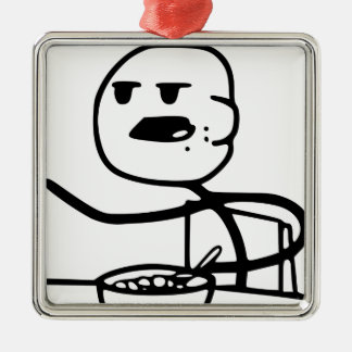 Cereal Guy Meme Silver-Colored Square Decoration