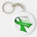 Cerebral Palsy Awareness Ribbon Basic Round Button Key Ring