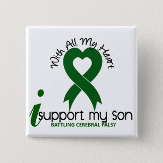 Cerebral Palsy I Support My Son 15 Cm Square Badge