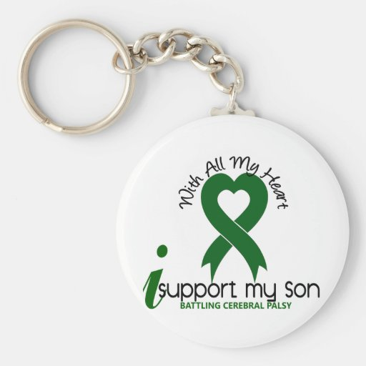 Cerebral Palsy I Support My Son Basic Round Button Key Ring