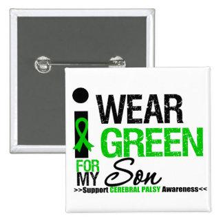 Cerebral Palsy I Wear Green Ribbon For My Son 15 Cm Square Badge