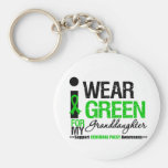 Cerebral Palsy I Wear Green Ribbon Granddaughter Keychain