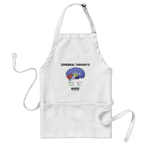 Cerebral Thoughts Inside (Brain Humor) Aprons