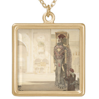Ceremonial Elephant, from 'The Jungle Book' by Rud Square Pendant Necklace