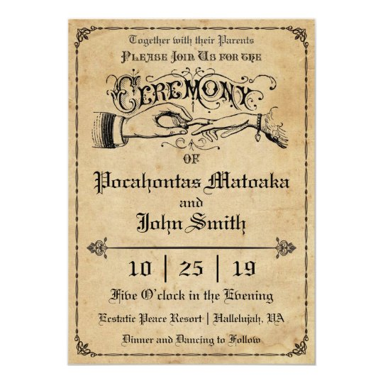 Ceremony Rustic Vintage Wedding Invitation