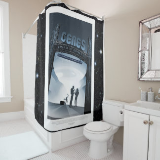 Ceres dwarf planet vacation advert space tourism shower curtain