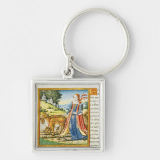 Ceres Silver-Colored Square Key Ring