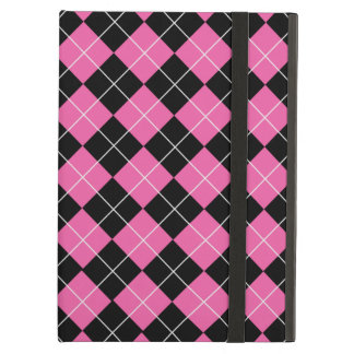 Cerise Pink and Black Argyle Plaid Pattern Cover For iPad Air