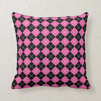 Cerise Pink and Black Argyle Plaid Pattern Cushion