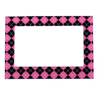 Cerise Pink and Black Argyle Plaid Pattern Magnetic Frame
