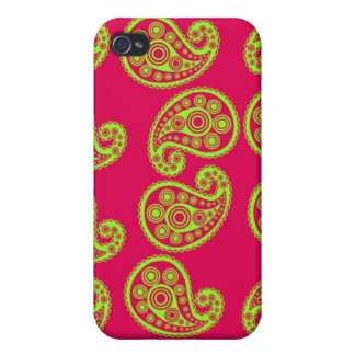Cerise Pink and Lime Green Paisley Pern iPhone 4/4S Case