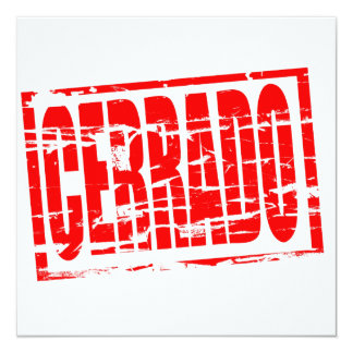 Cerrado red rubber stamp effect 13 cm x 13 cm square invitation card