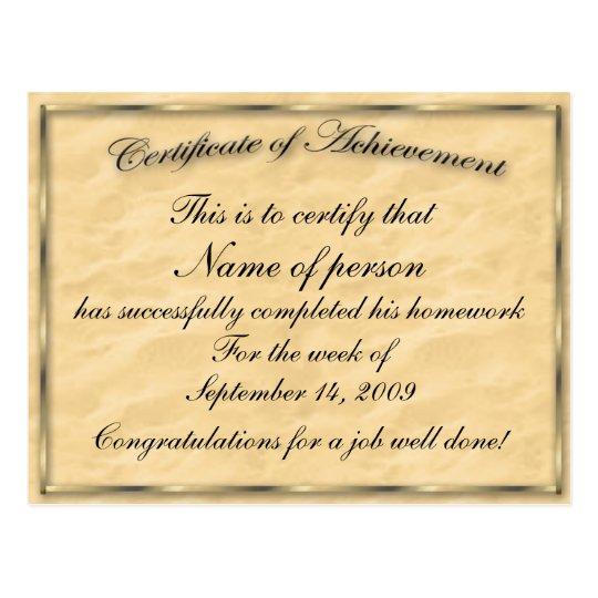 certificate of achievement template postcard zazzle co uk