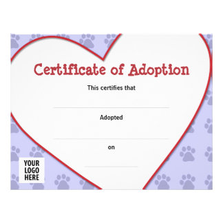 Certificate of Adoption: Dog, Cat, Any Pet 21.5 Cm X 28 Cm Flyer
