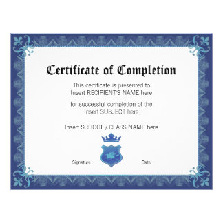 CERTIFICATE OF COMPLETION 21.5 CM X 28 CM FLYER