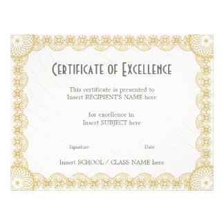 CERTIFICATE OF EXCELLENCE 21.5 CM X 28 CM FLYER