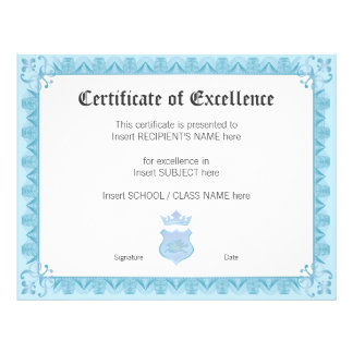 CERTIFICATE OF EXCELLENCE FLYER