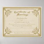 Certificate of Marriage Art Print