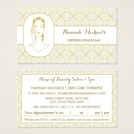 Certified Aesthetician White Gold Woman Business Card