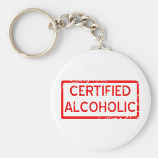 CERTIFIED ALCOHOLIC BASIC ROUND BUTTON KEY RING