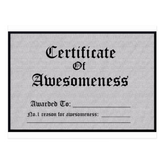 Certified Awesome Postcard