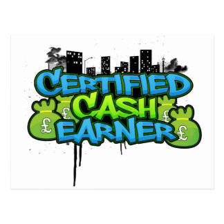 certified cash earner money stacks postcard