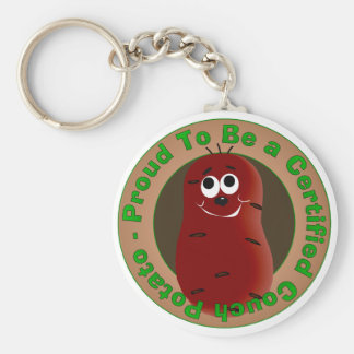 Certified Couch Potato Basic Round Button Key Ring