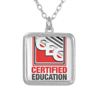 Certified Education Consultant Square Pendant Necklace