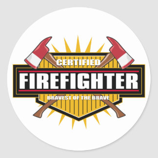 Certified Firefighter Classic Round Sticker