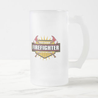 Certified Firefighter Frosted Glass Beer Mug