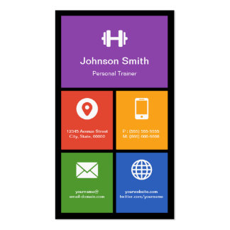 Certified Fitness Coach - Colorful Tiles Creative Pack Of Standard Business Cards