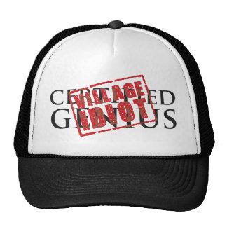 Certified genius: village idiot rubber stamp cap