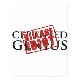 Certified genius: village idiot rubber stamp postcard