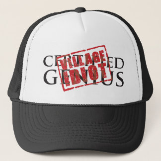 Certified genius: village idiot rubber stamp trucker hat