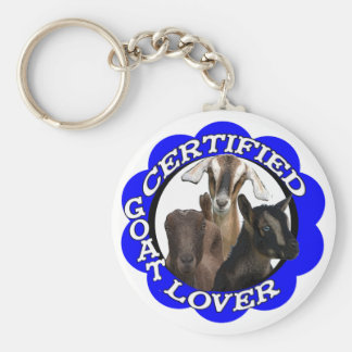 CERTIFIED GOAT LOVER! BASIC ROUND BUTTON KEY RING