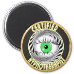 CERTIFIED HYPNOTHERAPIST LOGO 6 CM ROUND MAGNET