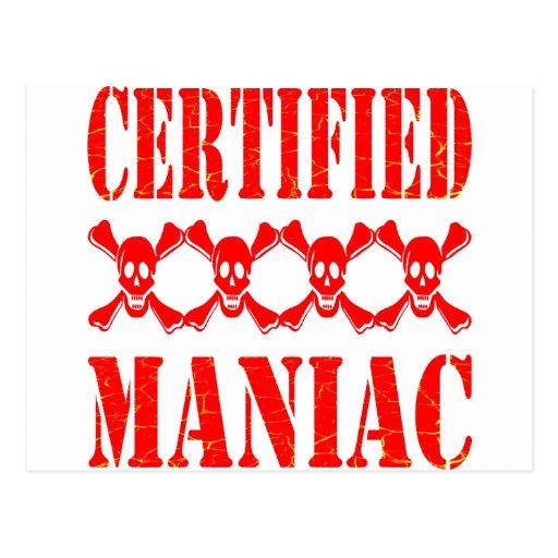 Certified Maniac w/ Skulls Post Card