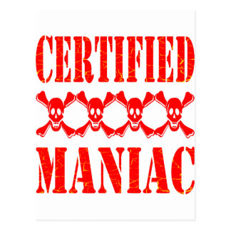 Certified Maniac w/ Skulls Postcard