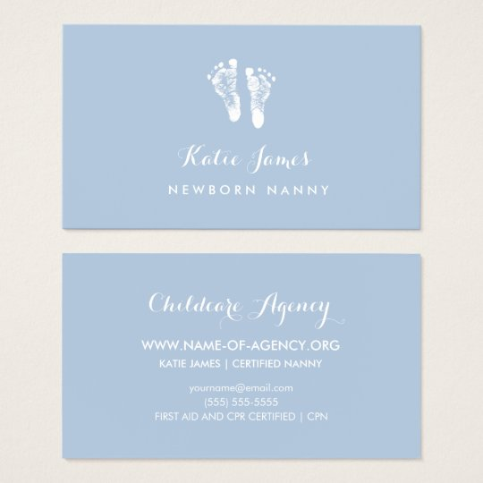 Certified Nanny Simple Newborn Baby Footprints Business Card