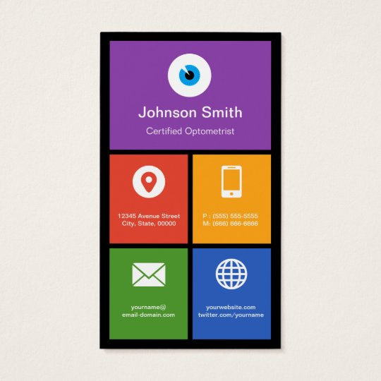 Certified Optometrist - Colourful Tiles Creative Business Card