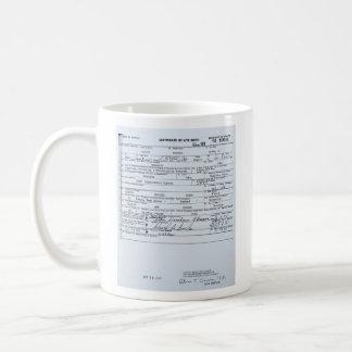 Certified Original Barack Obama Birth Certificate Basic White Mug