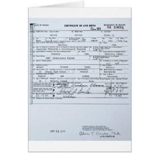 Certified Original Barack Obama Birth Certificate Card