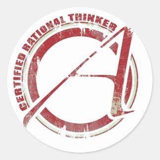 Certified Rational Thinker Round Sticker