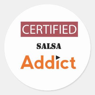 Certified Salsa Addict Classic Round Sticker